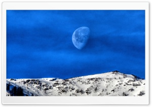 Moon Over the Hills in the Morning HD Wide Wallpaper for Widescreen
