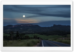 Moon Over the Mountain HD Wide Wallpaper for Widescreen