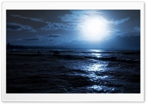 Moon Over The Sea HD Wide Wallpaper for Widescreen