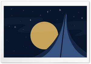Moon Rise Vector Art HD Wide Wallpaper for Widescreen