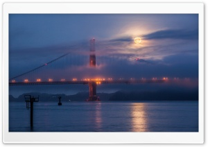 Moon rising over San Francisco and Golden Gate Bridge HD Wide Wallpaper for 4K UHD Widescreen desktop & smartphone
