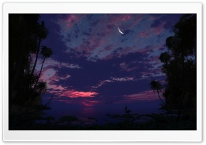 Moon Waning Crescent HD Wide Wallpaper for Widescreen