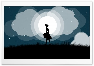 Moonlight and a Girl Ultra HD Wallpaper for 4K UHD Widescreen desktop, tablet & smartphone