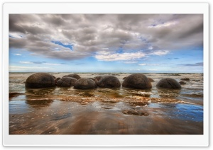 Moraki Boulders, New Zealand HD Wide Wallpaper for Widescreen