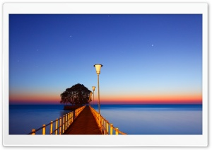 Morning, Pier, Water, Stars Ultra HD Wallpaper for 4K UHD Widescreen desktop, tablet & smartphone