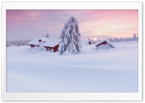 Morning Snow House HD Wide Wallpaper for Widescreen