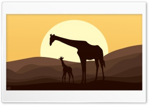 Mother and Baby Giraffe, African Safari Landscape by Yakub Nihat HD Wide Wallpaper for Widescreen
