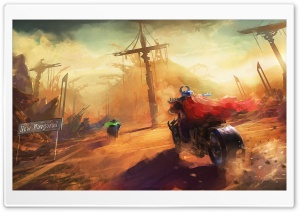 Motorcycles Painting HD Wide Wallpaper for Widescreen