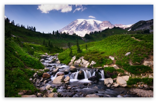 Download Mount Rainier over Edith Creek HD Wallpaper