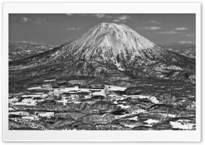 Mount Yotei Black and White HD Wide Wallpaper for 4K UHD Widescreen desktop & smartphone