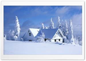 Mountain Chalet Covered With Snow HD Wide Wallpaper for Widescreen