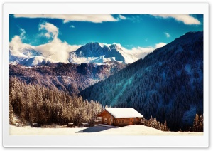 Mountain Chalet, Winter HD Wide Wallpaper for 4K UHD Widescreen desktop & smartphone