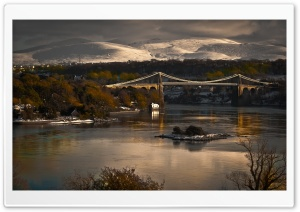 Mountain City Bridge HD Wide Wallpaper for Widescreen