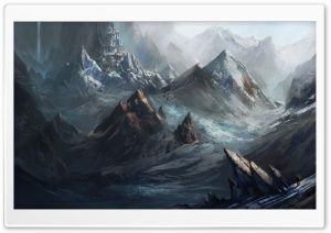 Mountain City Painting HD Wide Wallpaper for Widescreen
