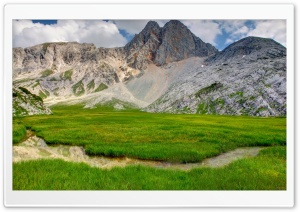 Mountain Ground Grass Stream HD Wide Wallpaper for Widescreen