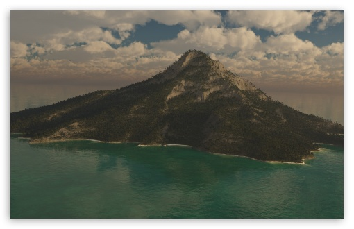 Download Mountain Island 3D UltraHD Wallpaper
