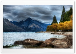 Mountain Lake, Autumn HDR HD Wide Wallpaper for 4K UHD Widescreen desktop & smartphone