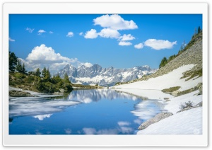 Mountain Lake, Blue Sky Ultra HD Wallpaper for 4K UHD Widescreen desktop, tablet & smartphone