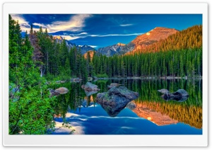 Mountain Lake Daytime HD Wide Wallpaper for Widescreen