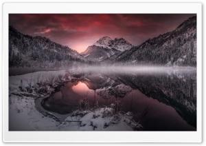 Mountain Lake, Mist, Winter Ultra HD Wallpaper for 4K UHD Widescreen desktop, tablet & smartphone