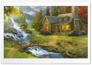 Mountain Paradise by Thomas Kinkade HD Wide Wallpaper for 4K UHD Widescreen desktop & smartphone
