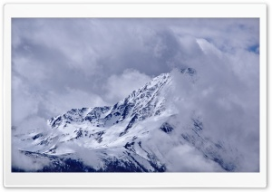 Mountain Peak With Drifting Clouds HD Wide Wallpaper for Widescreen