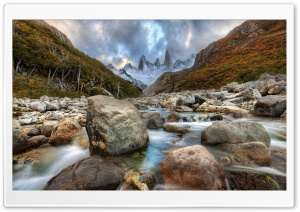 Mountain River In Argentina HD Wide Wallpaper for 4K UHD Widescreen desktop & smartphone