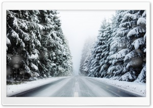 Mountain Road, Winter Season HD Wide Wallpaper for Widescreen