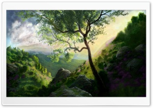 Mountain Scenery Painting HD Wide Wallpaper for Widescreen