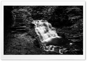 Mountain Waterfall, Stone Steps, Black and White Ultra HD Wallpaper for 4K UHD Widescreen desktop, tablet & smartphone