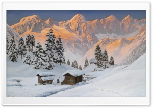 Mountain Winter Painting HD Wide Wallpaper for Widescreen