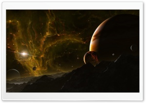 Mountains And Planets HD Wide Wallpaper for Widescreen