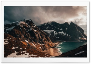Mountains, Lofoten Islands, Norway HD Wide Wallpaper for 4K UHD Widescreen desktop & smartphone