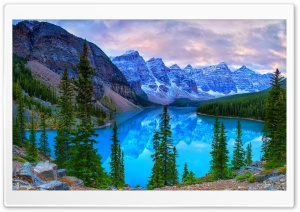 Mountains, Moraine Lake, Banff National Park, Canada HD Wide Wallpaper for 4K UHD Widescreen desktop & smartphone