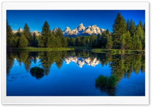 Mountains Reflecting In A Calm Blue Lake HD Wide Wallpaper for Widescreen