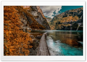 Mountains, Wooden Dock, Lake, Autumn HD Wide Wallpaper for 4K UHD Widescreen desktop & smartphone