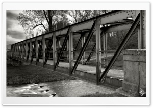 My Old Bridge BW by Nyclaudiotesta HD Wide Wallpaper for Widescreen