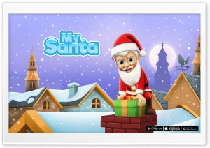 My Santa Claus - Down the Chimney HD Wide Wallpaper for Widescreen