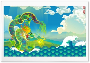 Mythical Chinese Water Dragon HD Wide Wallpaper for Widescreen