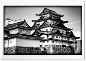 Nagoya Castle In Black And White HD Wide Wallpaper for Widescreen