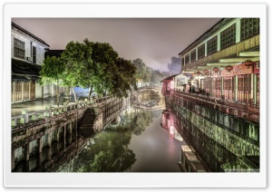 Nanxiang Ancient Town at Night Shanghai, China HD Wide Wallpaper for Widescreen