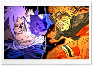 Naruto vs Sasuke - Fighting HD Wide Wallpaper for Widescreen