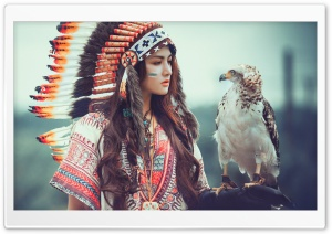 Native American Girl with Eagle HD Wide Wallpaper for 4K UHD Widescreen desktop & smartphone