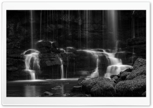 Nature Waterfall Long Exposure Black and White Ultra HD Wallpaper for 4K UHD Widescreen desktop, tablet & smartphone
