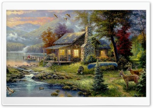 Natures Paradise By Thomas Kinkade HD Wide Wallpaper for 4K UHD Widescreen desktop & smartphone