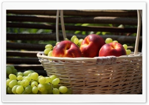 Nectarines And Grapes HD Wide Wallpaper for Widescreen