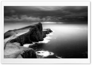 Neist Point Lighthouse, Scotland, Black and White Ultra HD Wallpaper for 4K UHD Widescreen desktop, tablet & smartphone