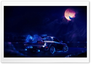 Neon Car Going To The Moon Wolf HD Wide Wallpaper for Widescreen