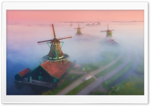 Netherlands Famous Windmills Landscape Mist Ultra HD Wallpaper for 4K UHD Widescreen desktop, tablet & smartphone