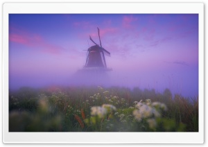 Netherlands Traditional Windmill Morning Mist Ultra HD Wallpaper for 4K UHD Widescreen desktop, tablet & smartphone